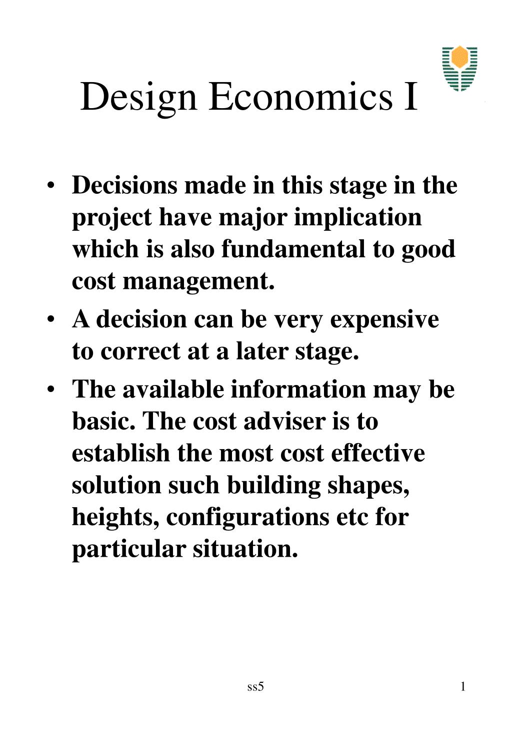 design economics i