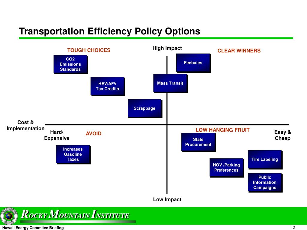 Transportation Efficiency Policy Options