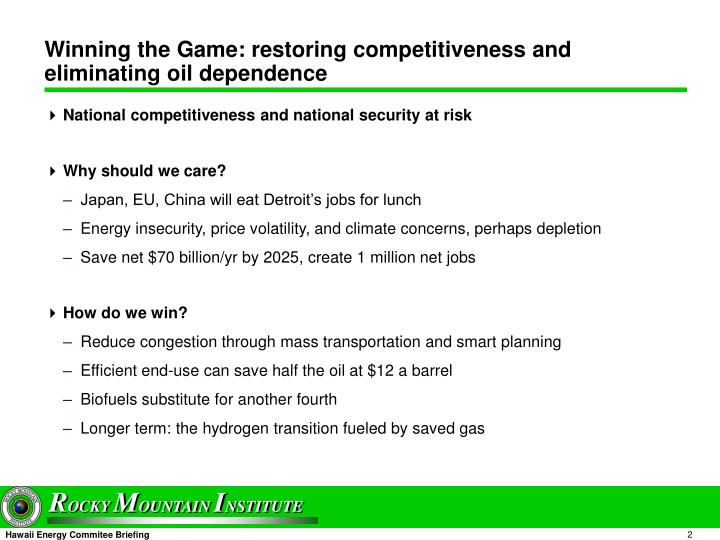 Winning the game restoring competitiveness and eliminating oil dependence
