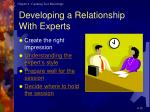 developing a relationship with experts