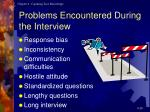 problems encountered during the interview