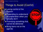 things to avoid cont d