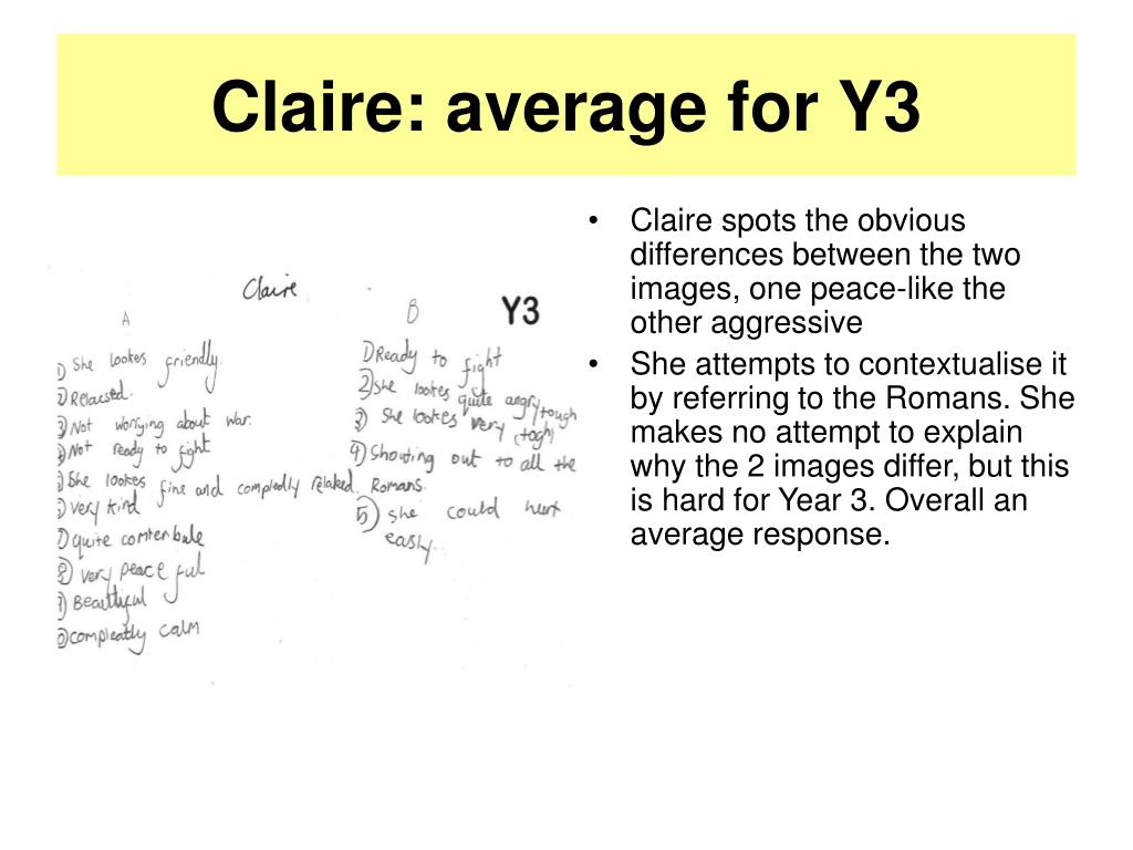 Claire: average for Y3