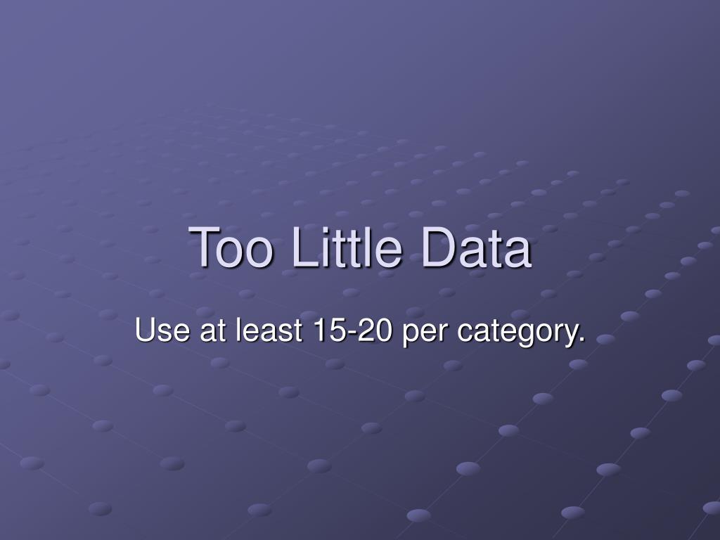 Too Little Data