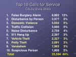 top 10 calls for service chula vista 2003