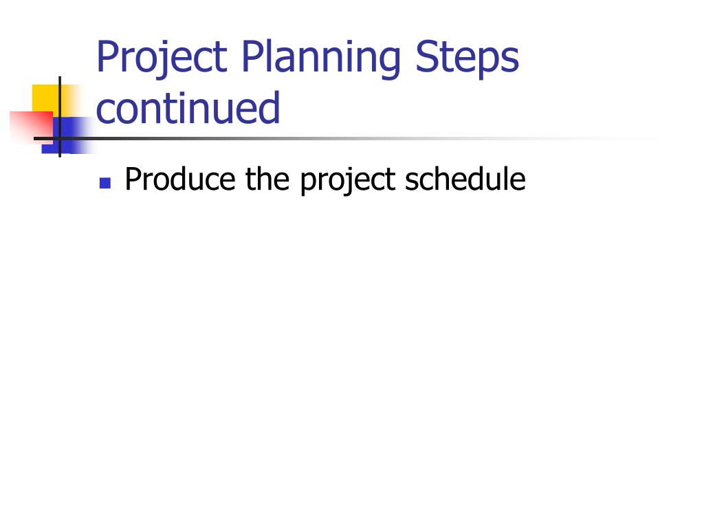 Project Planning Steps continued