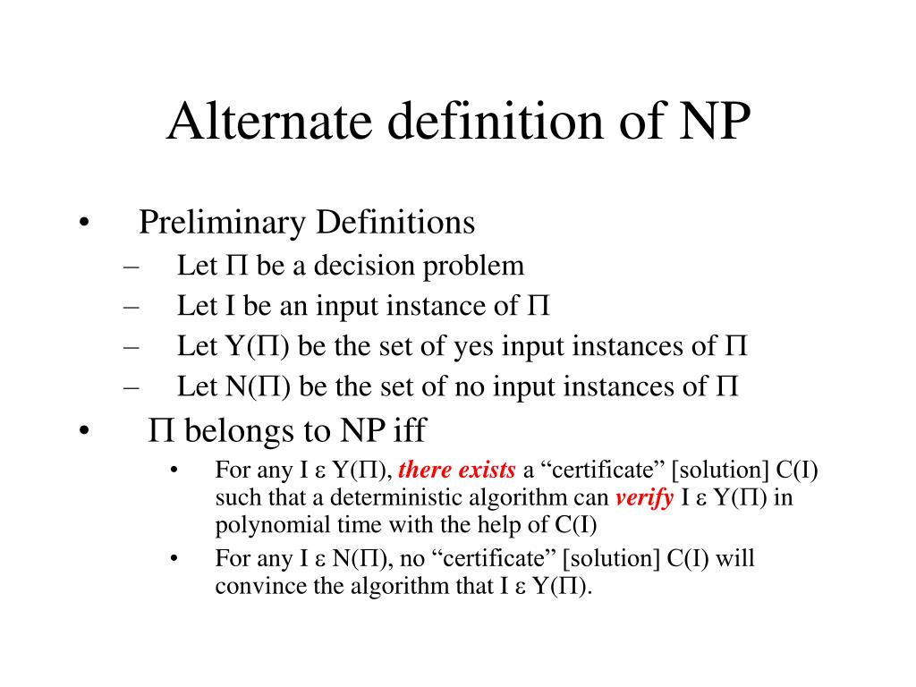 Alternate definition of NP