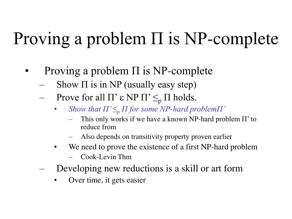 Proving a problem П is NP-complete