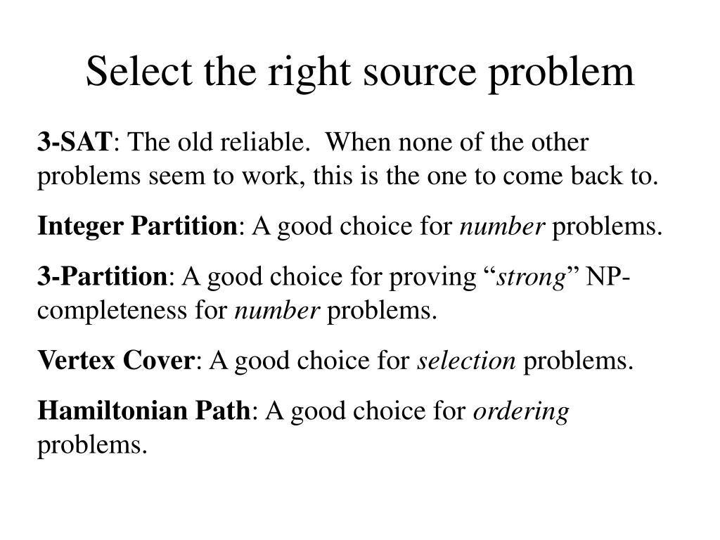 Select the right source problem