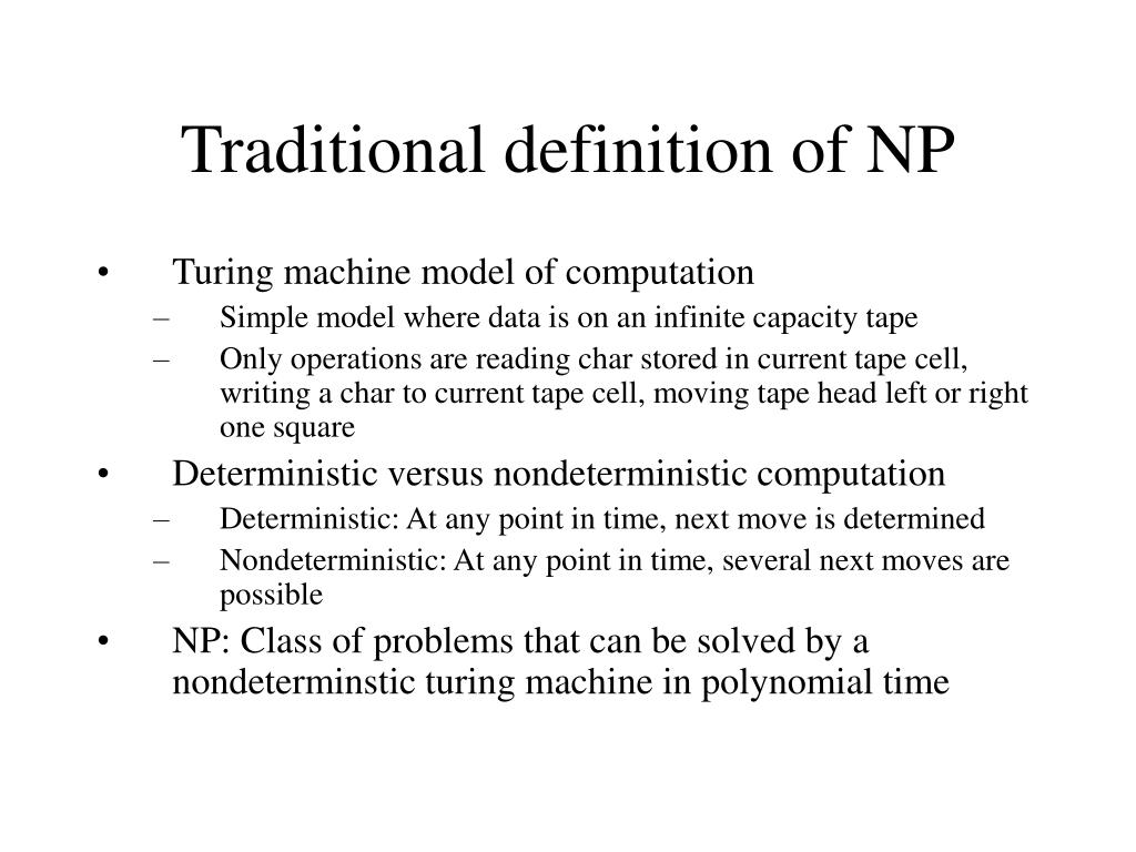 Traditional definition of NP