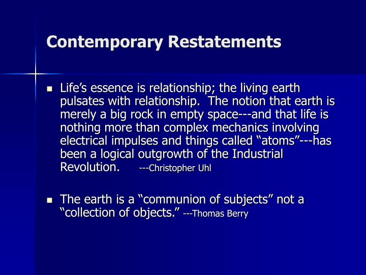 Contemporary Restatements