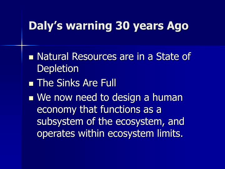 Daly's warning 30 years Ago