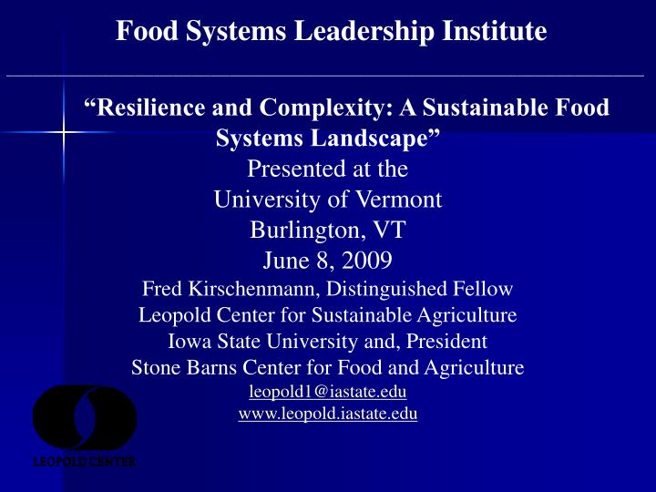 Food Systems Leadership Institute