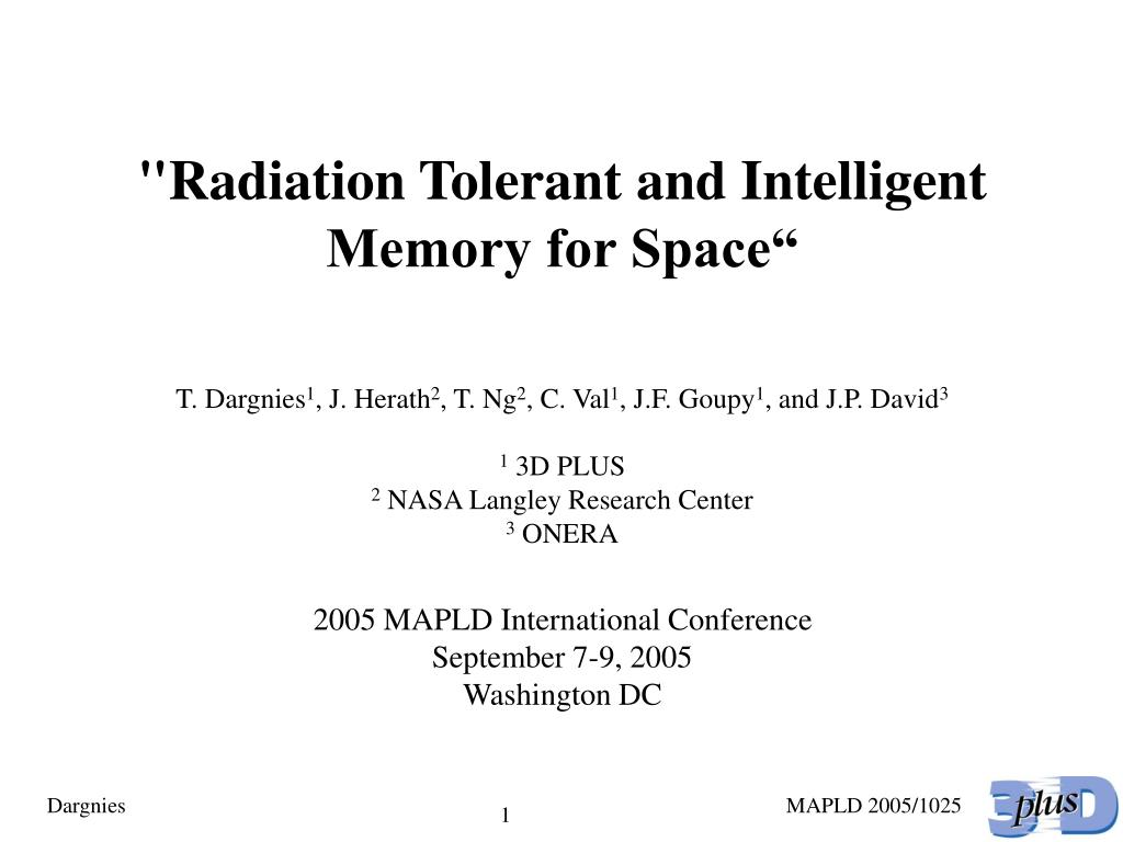 """Radiation Tolerant and Intelligent Memory for Space"""