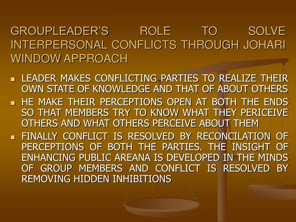 GROUPLEADER'S ROLE TO SOLVE INTERPERSONAL CONFLICTS THROUGH JOHARI WINDOW APPROACH