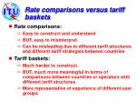rate comparisons versus tariff baskets