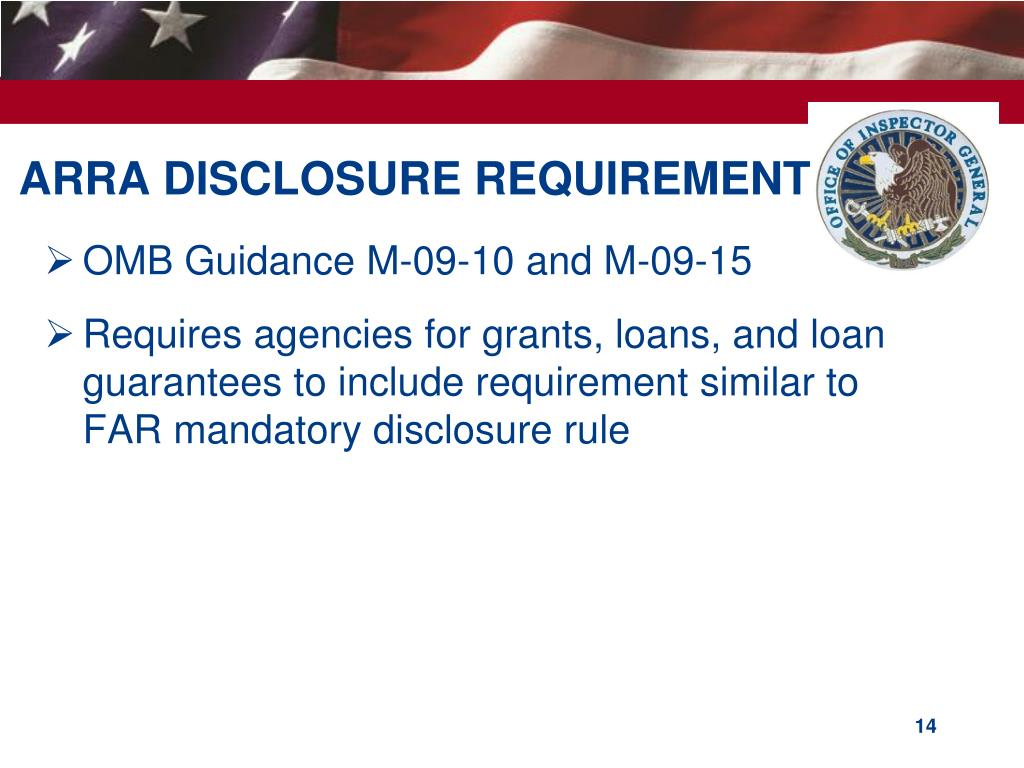 ARRA DISCLOSURE REQUIREMENT