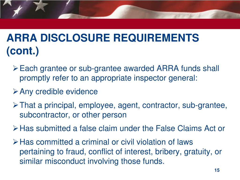 ARRA DISCLOSURE REQUIREMENTS (cont.)