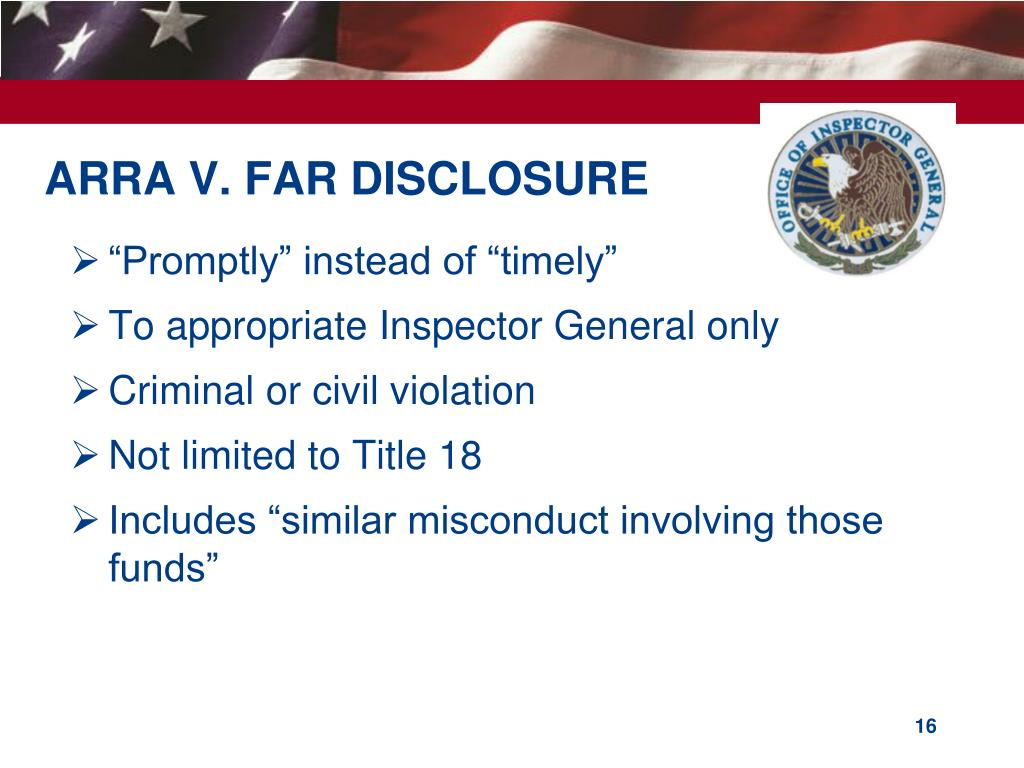 ARRA V. FAR DISCLOSURE