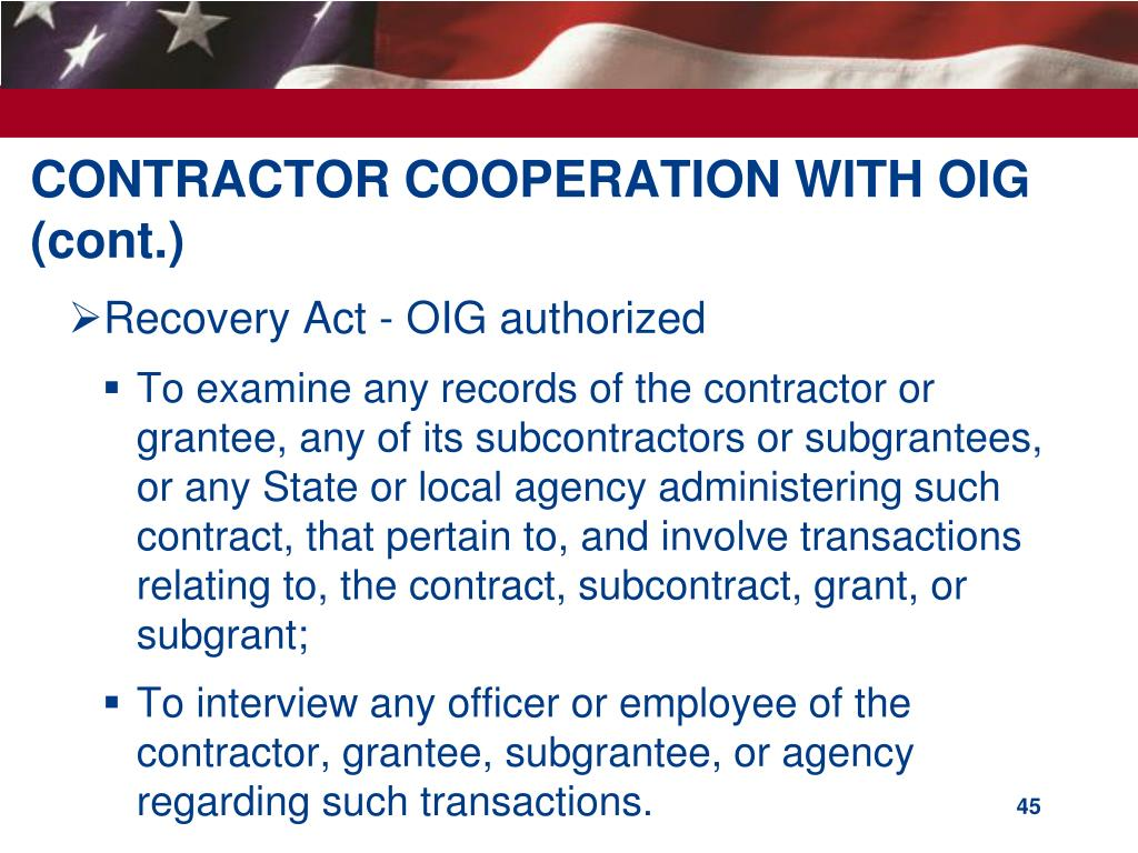 CONTRACTOR COOPERATION WITH OIG (cont.)
