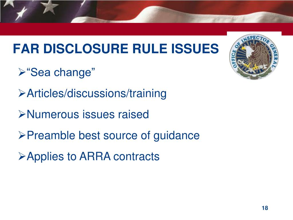 FAR DISCLOSURE RULE ISSUES