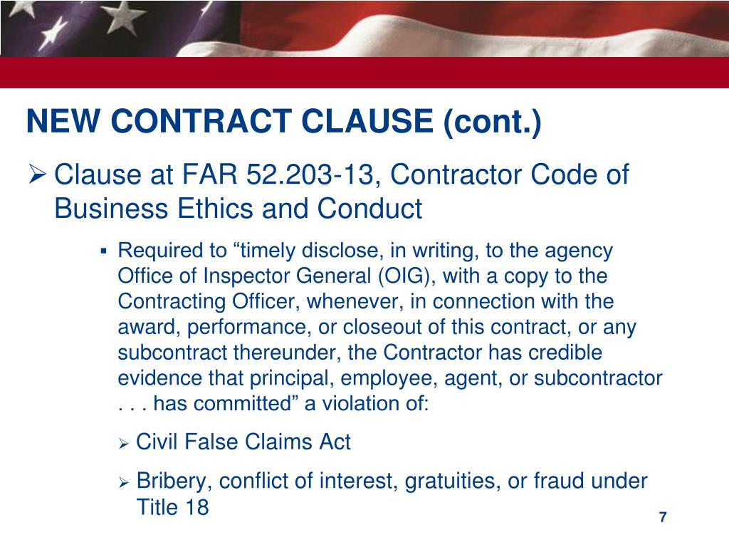 NEW CONTRACT CLAUSE (cont.)