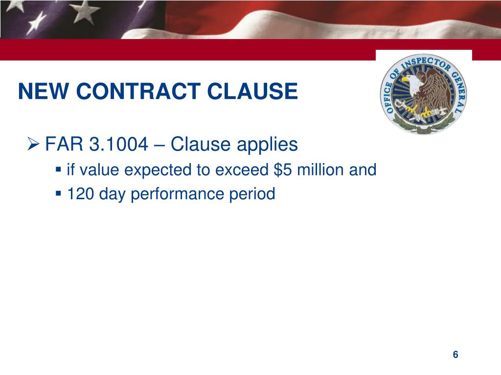 NEW CONTRACT CLAUSE