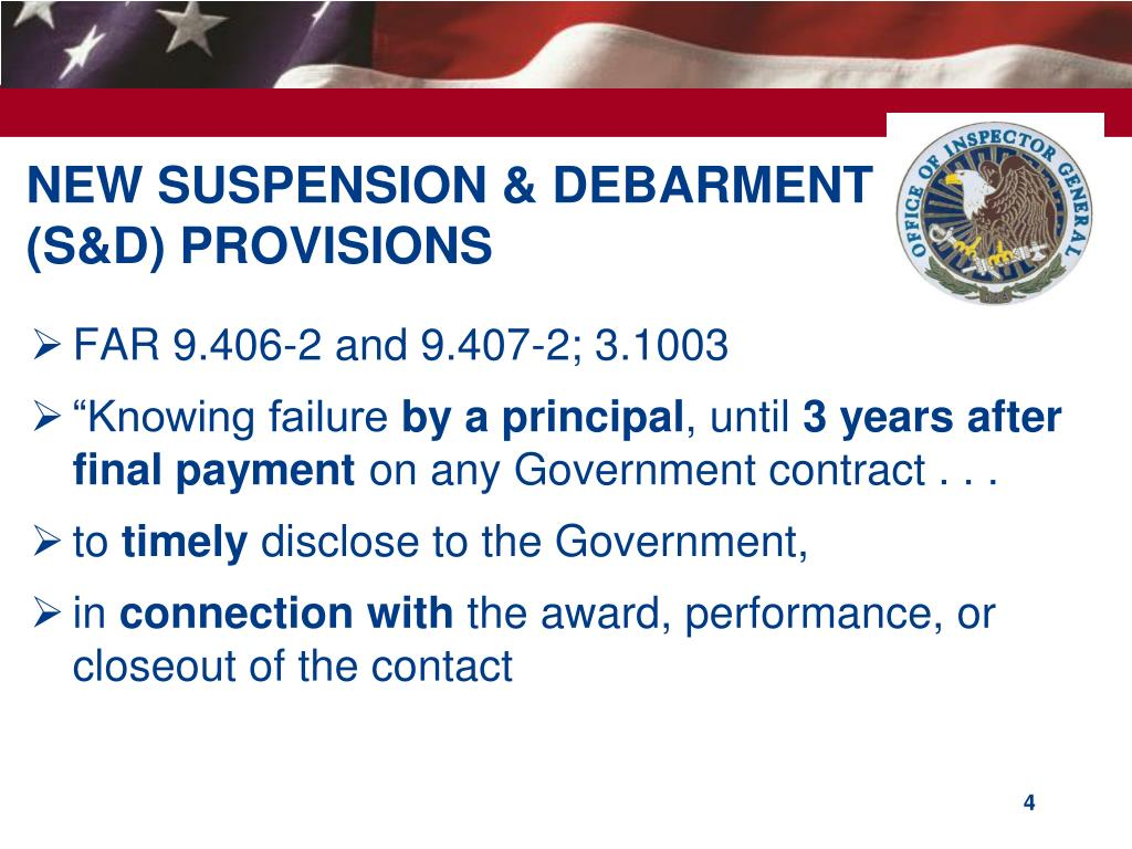 NEW SUSPENSION & DEBARMENT (S&D) PROVISIONS