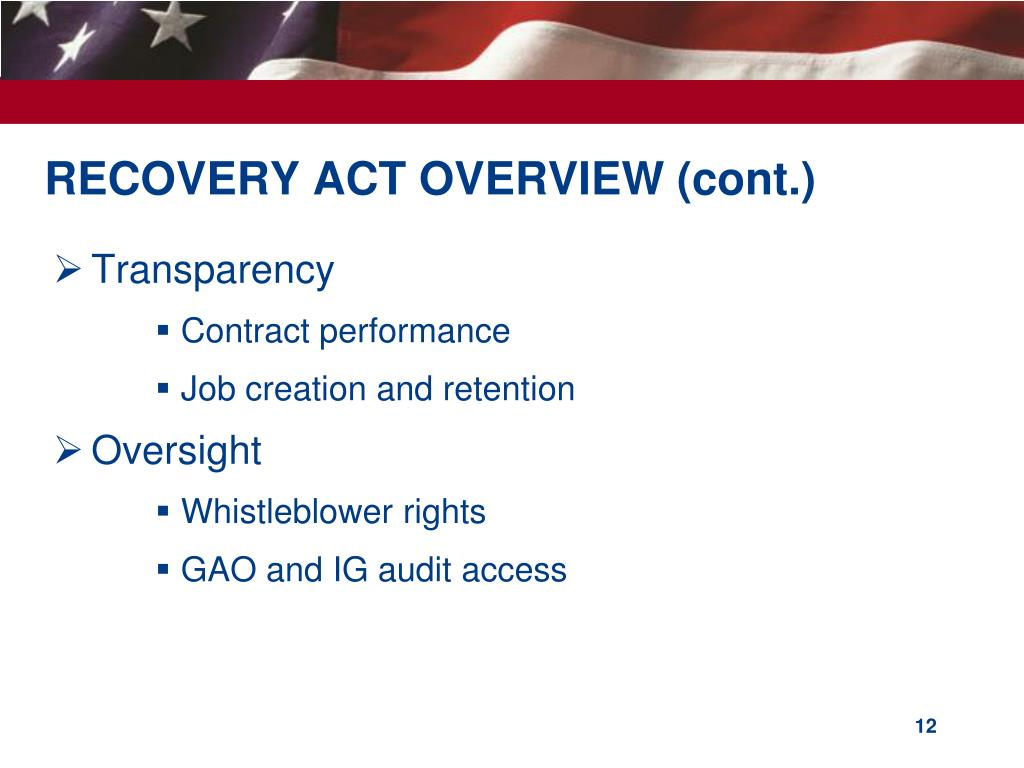 RECOVERY ACT OVERVIEW (cont.)