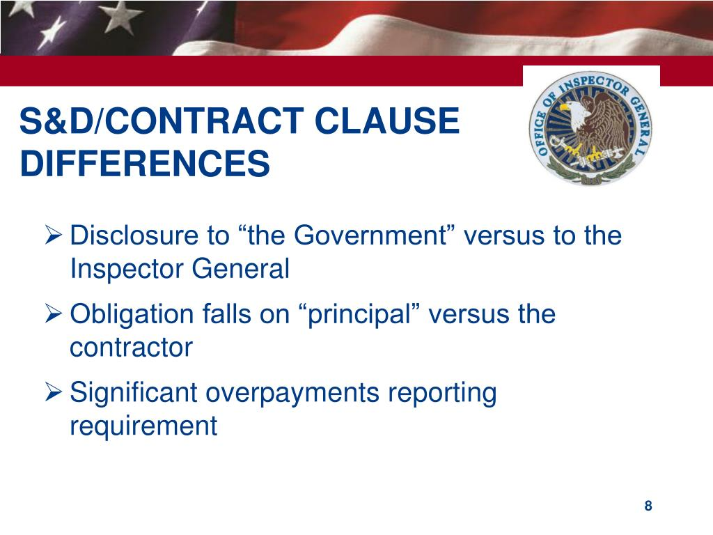 S&D/CONTRACT CLAUSE DIFFERENCES