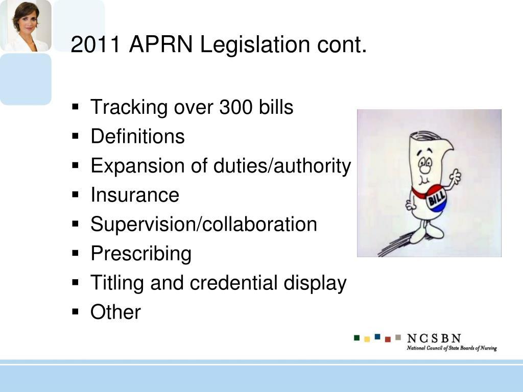 2011 APRN Legislation cont.