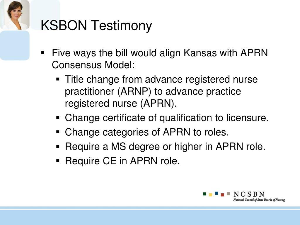 KSBON Testimony