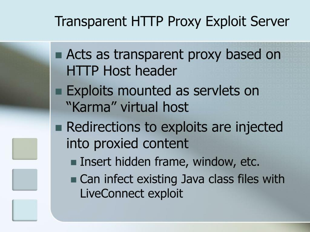 Transparent HTTP Proxy Exploit Server