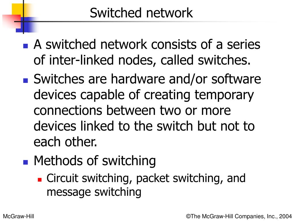 A switched network consists of a series of inter-linked nodes, called switches.