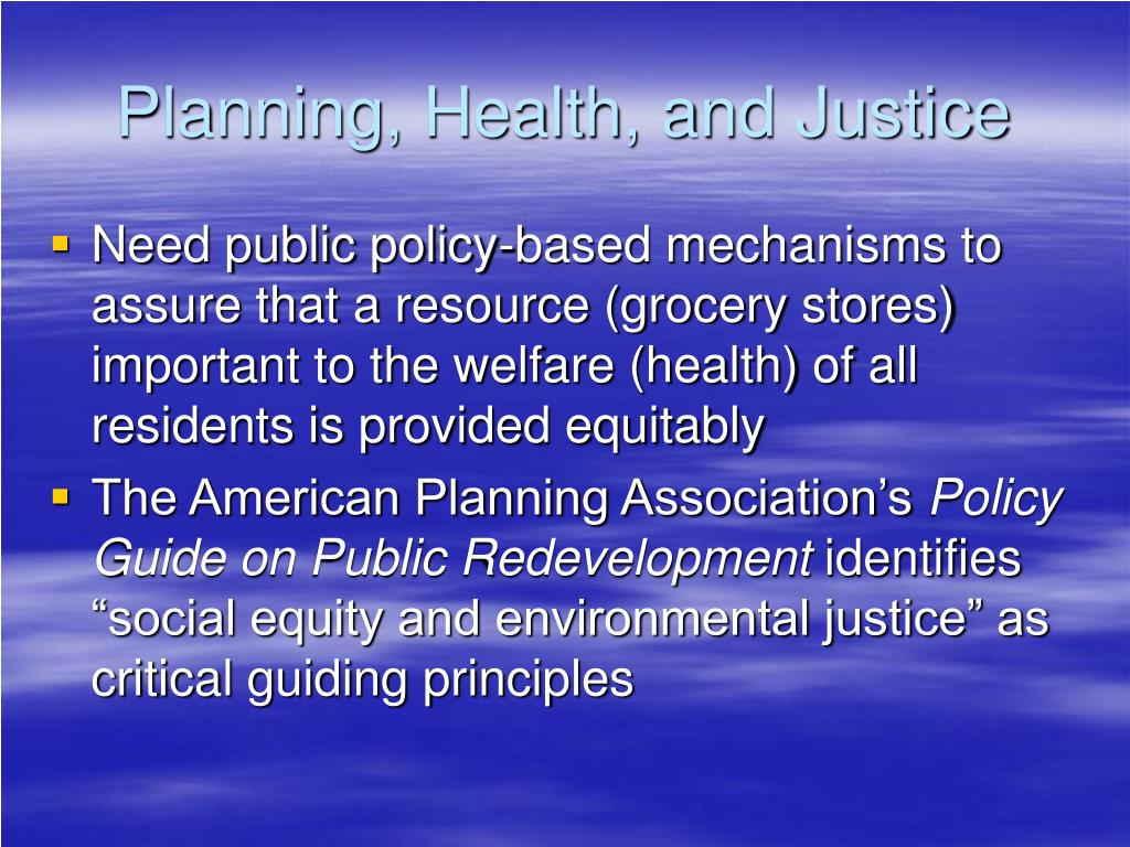 Planning, Health, and Justice