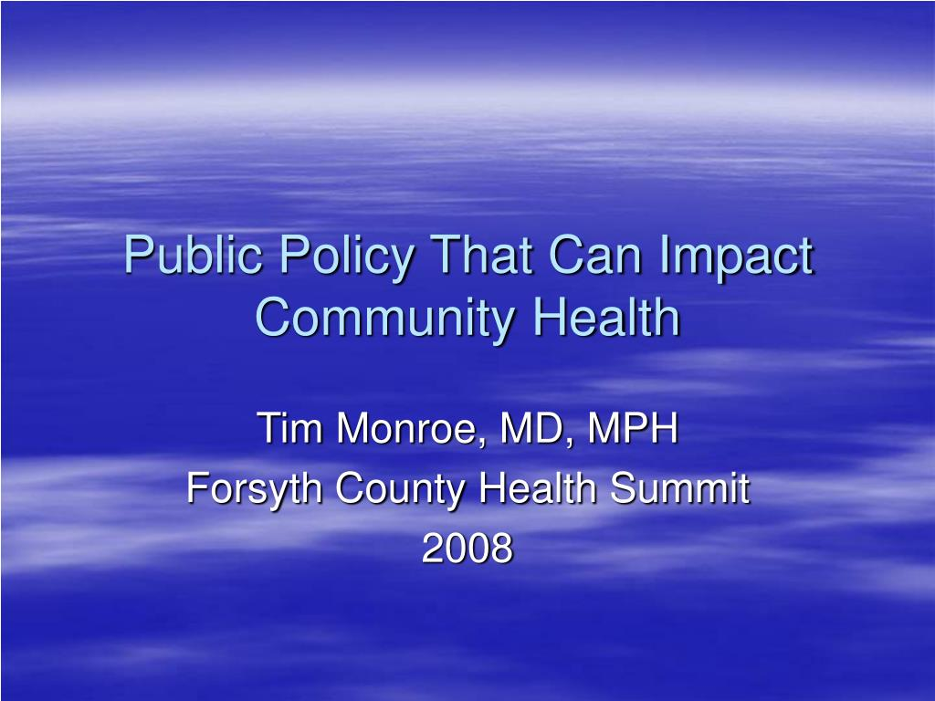 public policy that can impact community health