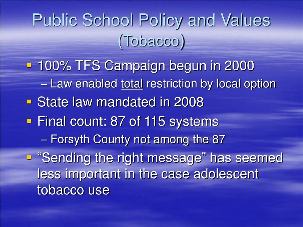 Public School Policy and Values