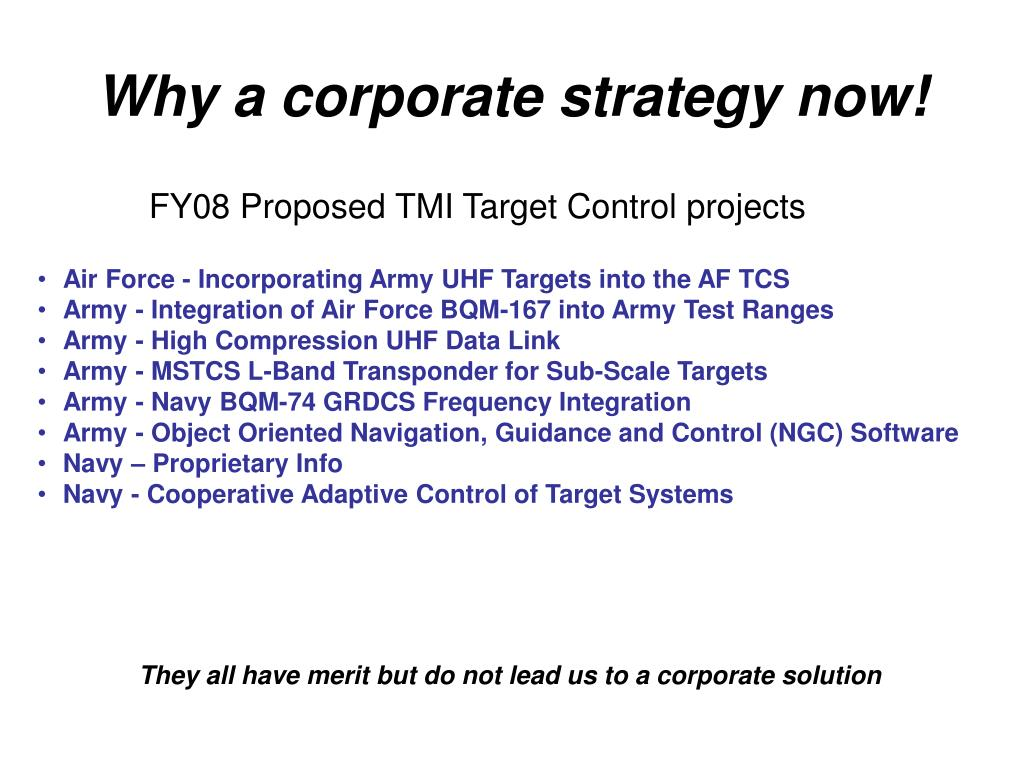 Why a corporate strategy now!