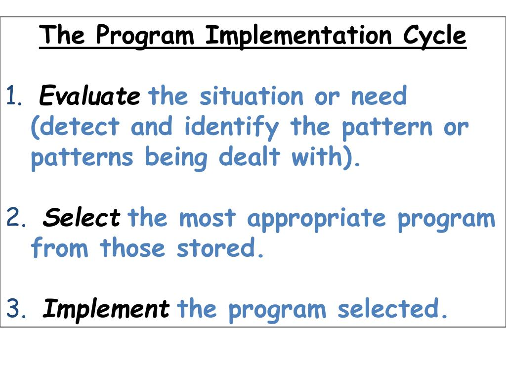 The Program Implementation Cycle