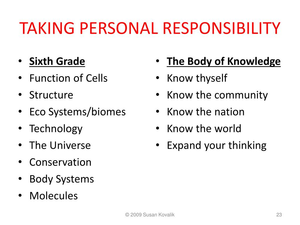 TAKING PERSONAL RESPONSIBILITY