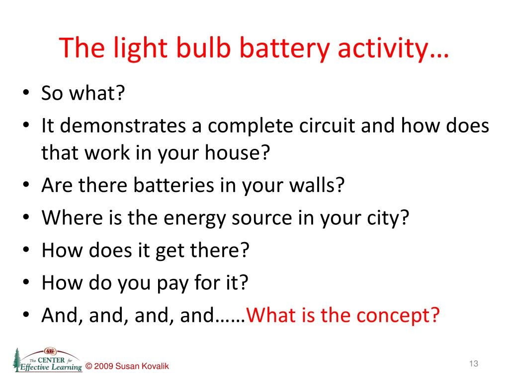 The light bulb battery activity…