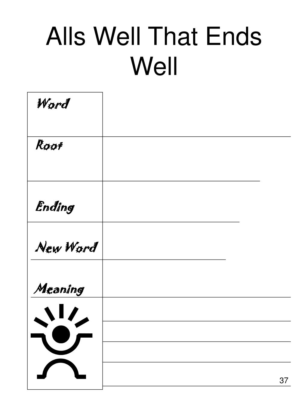 All well that ends well essay