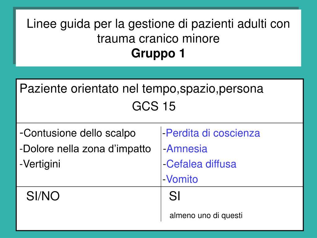 Linee guida per la gestione di pazienti adulti con trauma cranico minore