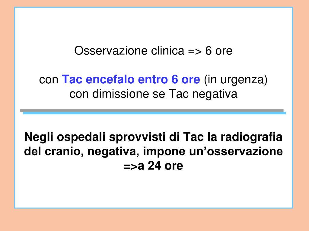 Osservazione clinica => 6 ore