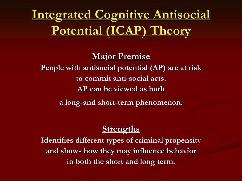Integrated Cognitive Antisocial Potential (ICAP) Theory