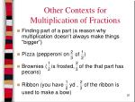 other contexts for multiplication of fractions