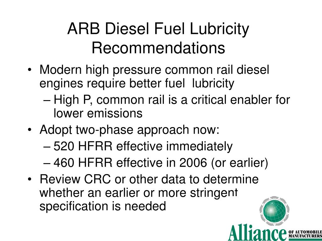 ARB Diesel Fuel Lubricity Recommendations