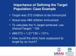 i mportance of defining the target population case example