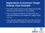 implications of incorrect target setting case example