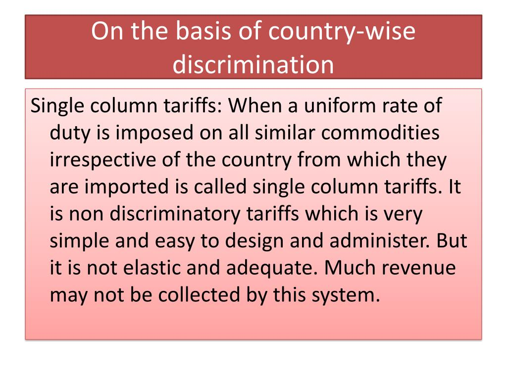 On the basis of country-wise discrimination